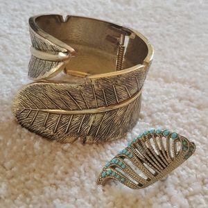 Gold bracelet and ring
